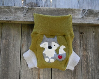 Upcycled  Wool /Cashmere Soaker Cover Diaper Cover With Added Doubler Avocado Green/ Light Gray With Wolf Applique SMALL 3-6M Kidsgogreen