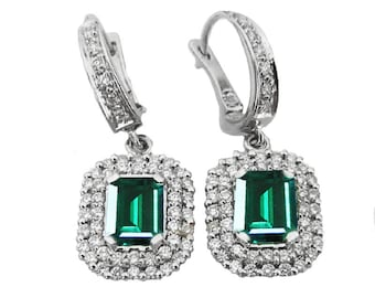 Emerald Earrings Drop Earrings Cluster Earrings Chatham Emerald 14K White Gold with 2 Rows Diamonds Pave May Birthstone