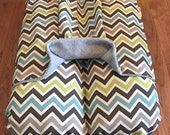 Bunbed Dachshund Dog Bed, BUNBED w/ COVER Burrow Snuggle Sack Pocket Bed, Chevron Zig Zags in Green and Blue, Gray Fleece, Dog Bed
