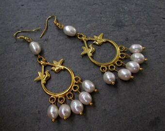 White pearls chandelier earrings