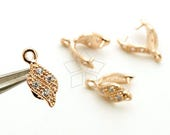 PS-085-RG / 2 Pcs - Flame Wave Pinch Bail with CZ Stone Detail, Rose Gold Plated over Brass / 11mm