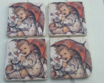 Little Girl Under Umbrella Coaster Set of 4 Tea Coffee Beer Coasters