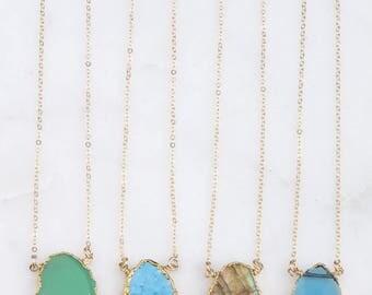Gemstone Slice Necklace, Gold Edged Gemstone Slice Necklace, Labradorite, Turquoise, Chrysoprase Gem Slice Pendant, Gold Gemstone Slice