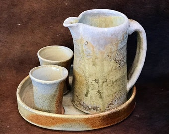 Stoneware Juice Set, Ceramic Pouring Pitcher with Handle and Spout, Two Pottery Cups and Serving Tray, Rustic Wood Fired Juicing Set.