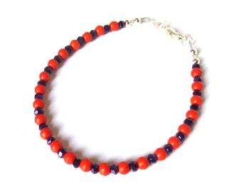Beaded Orange and Purple Bracelet, Orange Magnesite and Purple Crystals, Small Silver Bracelet, Minimalist Design, Clemson Colors