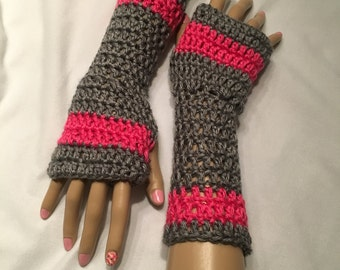 Crocheted Fingerless Gloves- Gray and Pink-Small-Adult