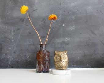 Vintage Brass Owl | Retro Gold Brass Paperweight | Vintage Brass Owl Bookend | Gold Owl with Marble Base | Mid Century Owl Statue