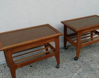 Pair Teak Table/ Side Tables on Wheels