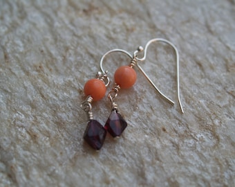 Garnet and Coral Sterling Silver Dangle Earrings