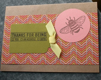Rude Thank You Card Sarcastic Thank You Card Funny Bee Card Mean Card for Asshole