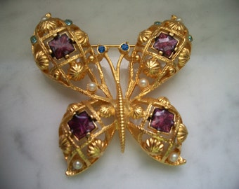 Butterfly with Purple Enamel, Blue, Green Stones and Pearls Brooch Pin by Avon