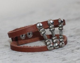 Brown Leather Cuff Bracelet, Unisex Leather Bracelet