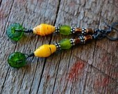 Recycled Glass Bead Earrings, Bohemian Jewelry, Bohemian Earrings, Green Yellow Brown Earrings, Wood Earrings, Natural Materials Jewelry