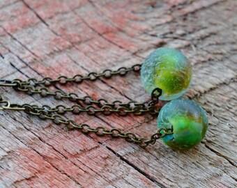 Recycled Glass Earrings, Eco Friendly Jewelry, Blue Green Glass Dangles, Wabi Sabi Designs