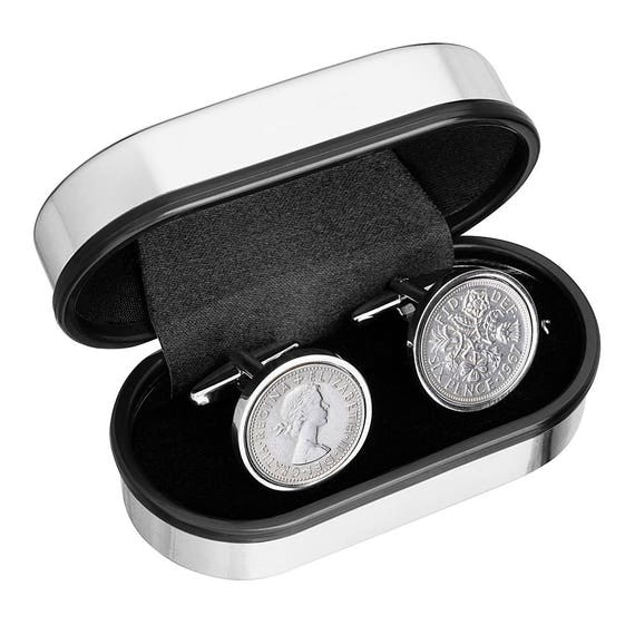Cuff link in Handmade - English sixpence coins Cufflinks - Wear a piece of history - Includes presentation box - 100% satisfaction