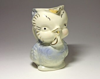 Vintage Pink Owl Pitcher, American Bisque Pottery Co. - 1940's