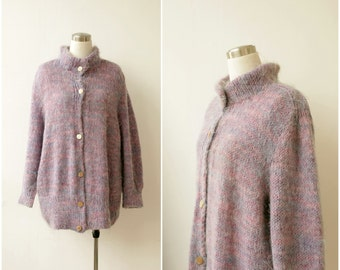 1980s Oversized Cardigan Sweater, Plus Size Sweater Oversize Pastel Mohair Sweater, hand knitted cozy cardigan