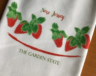 Strawberries Kitchen Towel Garden State New Jersey Cotton with State Option