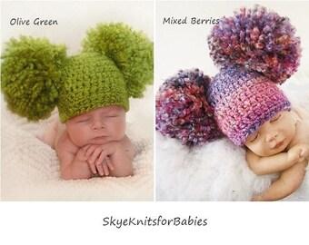 Pom Pom Hat, Crochet Double Pom Pom Hat, Newborn Big Pom Pom Hat, Baby Double Pom Pom Hat, Crochet Baby Hat, Newborn Hat, Newborn Photo Prop