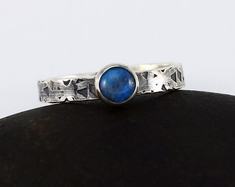 Size 6 1/2 Ring Handcrafted Sterling Silver and Denim Lapis Narrow Hand Stamped Band Contemporary Artisan Jewelry Design 15876250102616