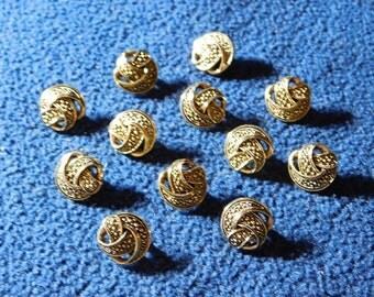 "Vintage Dark Gold Bump Twist 1/2"" Shank Buttons --  12pcs   (B518)"