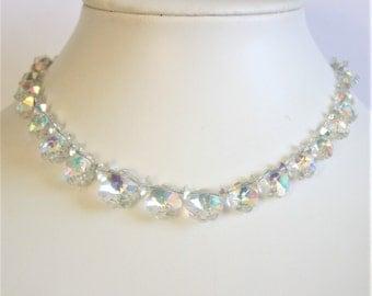 Vintage crystal flower necklace. Aurora borealis crystals. Exquisite necklace