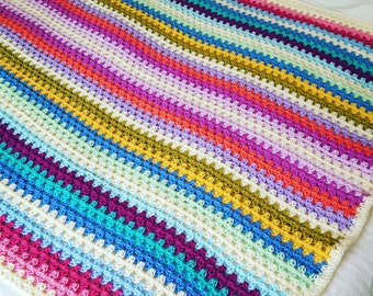 SUBLIME Fine GRANNY STRIPES Crochet Blanket Afghan Sofa Throw Colorful