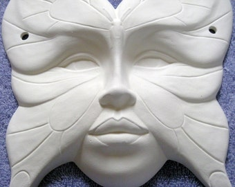 You Paint it Ceramic Butterfly Face Mask Poured From a Mold by CrazyOldLadyJC