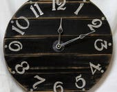15 Inch RUSTIC RECYCLED Wall CLOCK from  Discarded Black Boards with Hand Cut Numbers