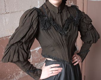 RARE Antique Victorian Bodice Jacket // 1890s Dark Olive Drab Silk Crepe & Black Lace Pointed Hem Boned Corset Blouse // Mutton Sleeves