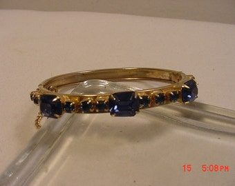 Vintage Blue Rhinestone Bracelet With Safety Chain  16 - 833