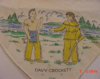 Vintage Davey Crockett Theme Child's Handkerchief  17 - 247