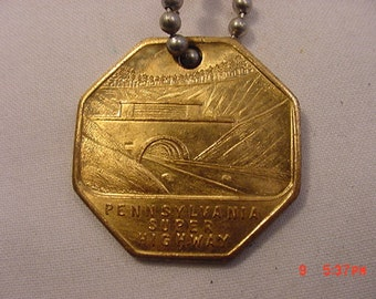 Vintage 1946 Pennsylvania Super Highway Key Fob Chain 17 - 460