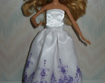 """Handmade clothes for 9"""" little sister fashion doll - white satin and purple embroidered tulle gown"""