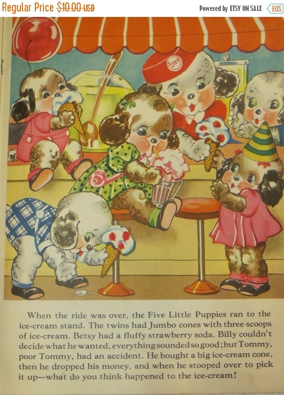 ON SALE Vintage Ruth Newton Childrens Nursery Rhyme Book Print-Puppies Ice Cream-Book Plate