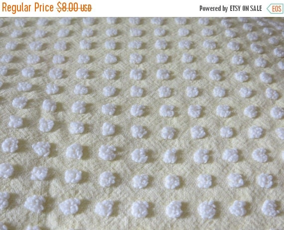 ON SALE Morgan Jones Vintage Chenille Bedspread Fabric Fat Quarter-Craft-Sewing-Yellow with White Popcorn-MINT