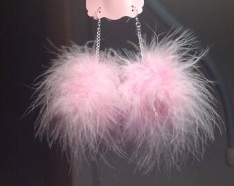 Feather Earrings/Marabou Earrings/Fluffy Baby Pastel Pom Pom Earring/Marabou Fluff/Feather Pom Pom/Pastel Goth,Kawaii/ pom pom puffs