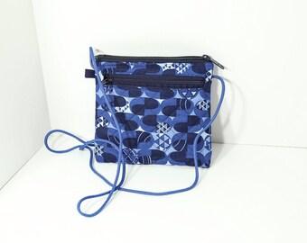 Jen Cross Body Wallet/purse in Blue Geometric