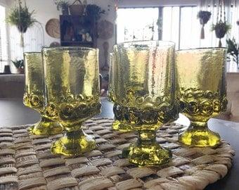 Vintage green glass cordial glasses , 5 green pressed glass pedestal glasses, barware