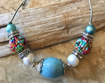 Chunky Turquoise Multicolored Spring beaded necklace on leather