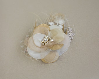 Gold Wedding Hair flower Wedding hair piece Bridal hair piece vintage bridal Hair Flowers Hair accessories rustic wedding hair piece