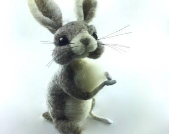 Needle Felted Rabbit, Rabbit Art, Bunny, Bunny Art, Needle Felted Animal, Fantasy Art, Bunny Gift, Bunny Decor, Felted Animals, Felt Animals