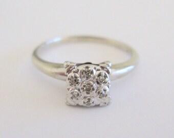 Vintage 7-Diamond Cluster Engagement Wedding Ring Illusion Style in 10 Karat White Gold Size 8.5