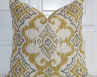 IKAT Decorative Pillow Cover - Gold Grey Taupe Pillow - Accent Pillow - Kilim Pillow - Both Sides Or Front Only - Cushion Pillow Case Cover