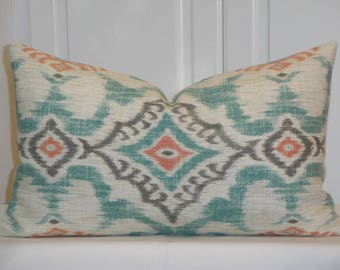 IKAT Decorative Pillow Cover - Aqua Coral Grey Pillow - Accent Pillow - Kilim Pillow - Cushion Pillow Case Cover