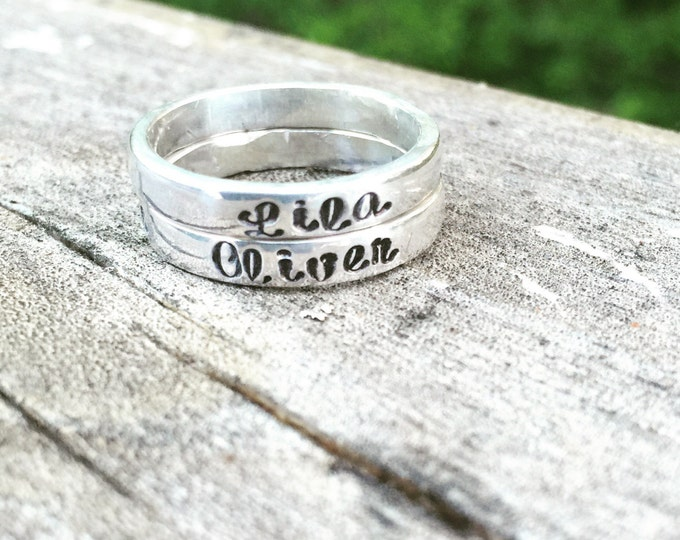 2 Stacked Custom Solid Sterling Silver Set of Stackable Hand Stamped Rings - You Choose Font & Finish - Your Message or Quote - Unique Gift