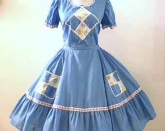 Vintage 60s Slate Blue Square Dance Dress with Metal Zipper - Short Sleeve Blue Swing Dress - Blue Circle Skirt Dress -  Medium to Large