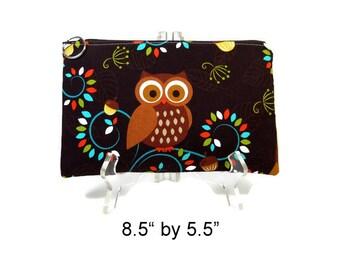 Owl Zipper Pouch, Brown Pouch, Cosmetic Bag, Pencil Pouch, Accessory Bag, Gadget Case, E-Cig Case, Zip Bag, Padded Pouch, Purse Pouch