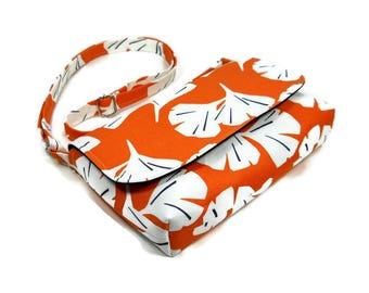 Small Orange Purse, Mini Crossbody Bag, Cross Body Purse, Orange Black, Mini Messenger Bag, Ginkgo Pocketbook, Fabric Handbag, Fabric Purse