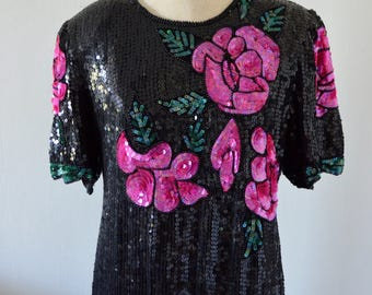 PINK ROSES Sequined Beaded Silk Top Pink Black Handmade Blouse Street Style Fall 2017